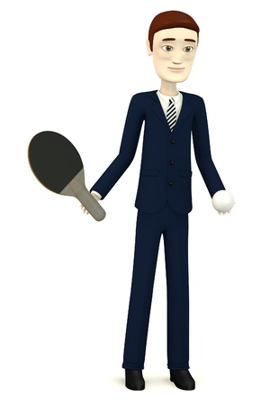 3d render of cartoon character with table tennis photo