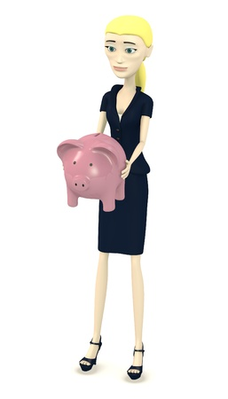 3d render of cartoon character with piggy bank photo
