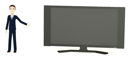 televison: 3d render of cartoon charcter with widescreen tv