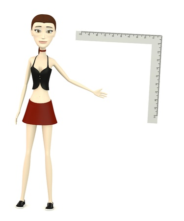 3d render of cartoon character with ruler Zdjęcie Seryjne