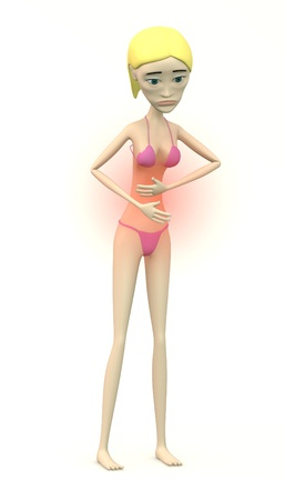 pms: female character in swimsuit - stomach problems