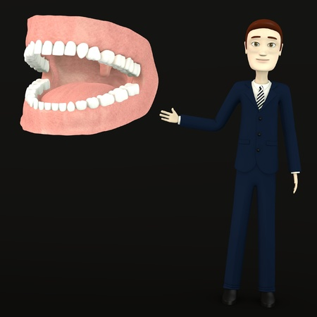 incisor: 3d render of cartoon character with teeth Stock Photo