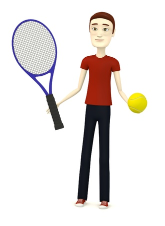 tenis: 3d render of cartoon character with tennis ball and racket Stock Photo