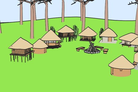 african village: cartoon image of african village
