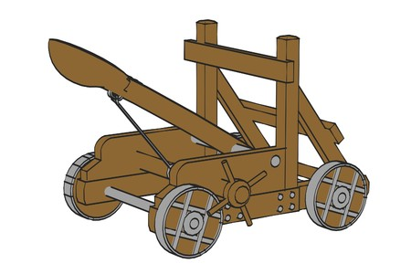 catapult: cartoon image of catapult weapon