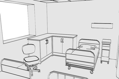 pacient: cartoon image of hospital room Stock Photo