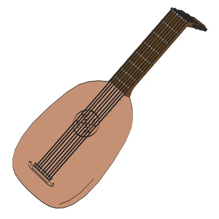 lute: cartoon image of medieval lute