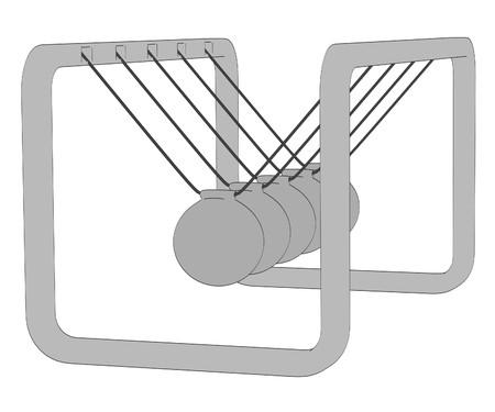 newton cradle: cartoon image of newton cradle