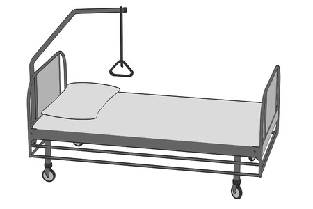 intensive care: cartoon image of hospital bed