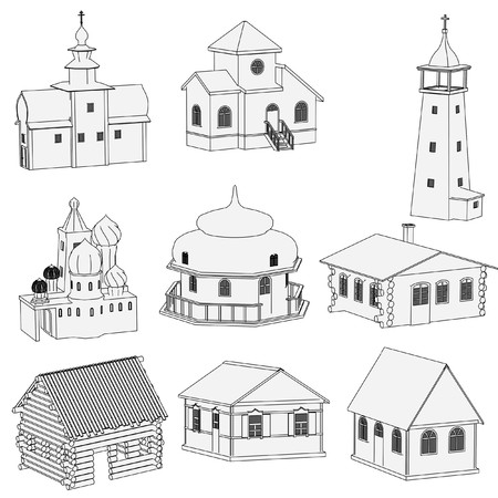 cartoon image of russian houses photo