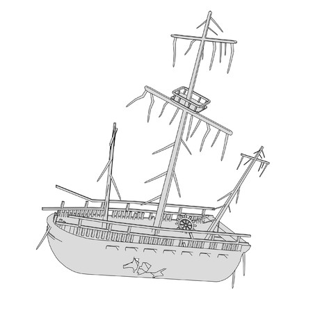 cartoon image of ship wreck photo