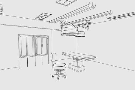 autopsy: cartoon image of surgery room