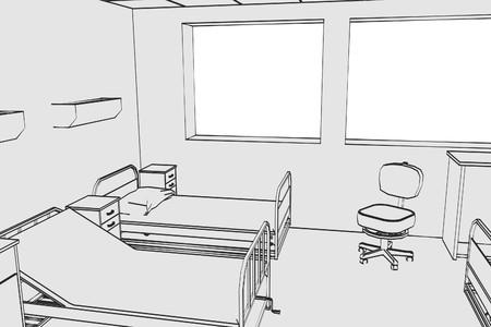 intensive care: cartoon image of hospital room Stock Photo