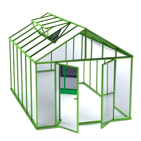 realistic 3d render of greenhouse Stock Photo