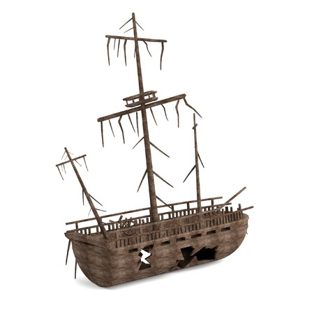 ship wreck: realistic 3d render of shipwreck Stock Photo