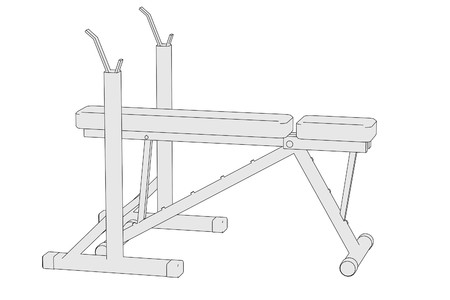 benchpress: cartoon image of benchpress machine Stock Photo