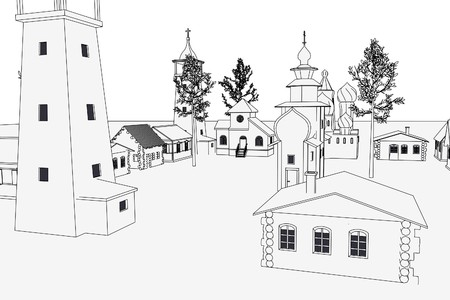 cartoon image of russian village photo