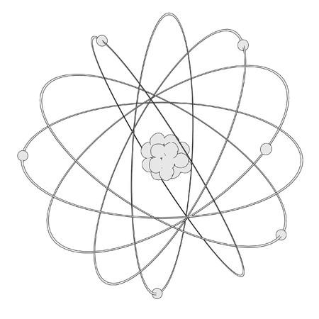 cartoon atom: cartoon image of atom with nucleus