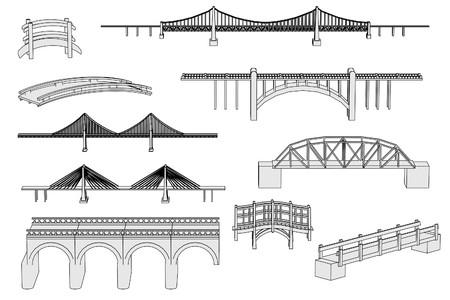 bridge hand: cartoon image of bridges set