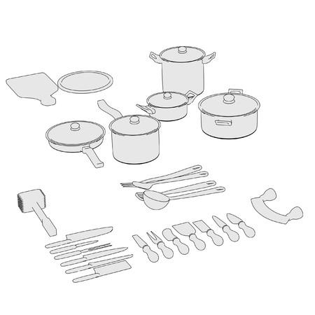 utensilios de cocina: caricatura de juego de ollas