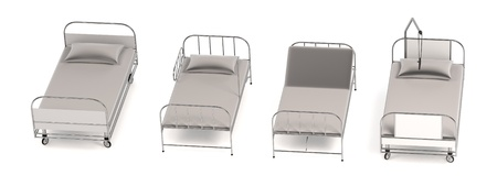 realistic 3d render of hospital beds
