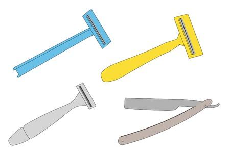shaving: cartoon image of shaving blades set