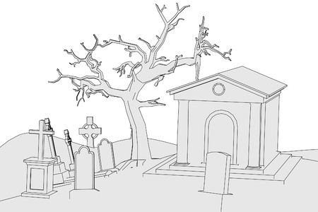 cartoon image of cemetery  photo