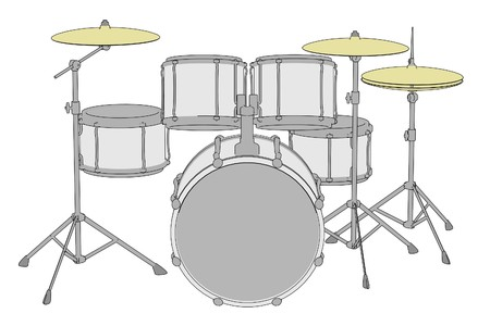drumset: cartoon illustration of drum set