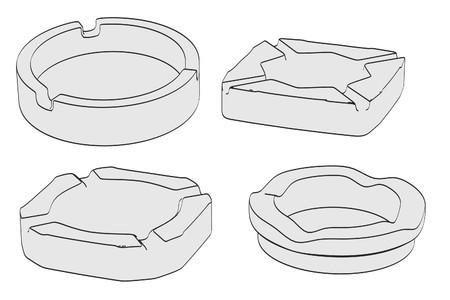 ashtray: cartoon image of empty ashtrays Stock Photo
