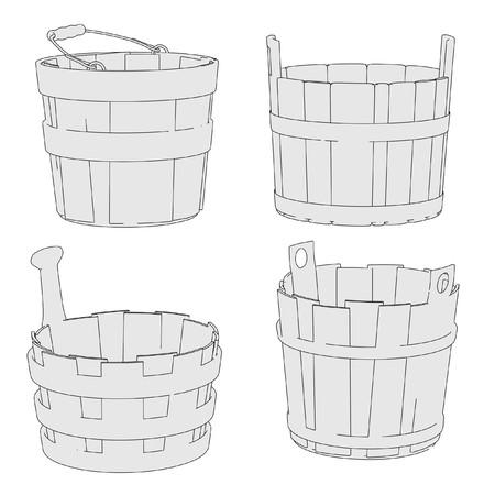 cartoon wood bucket: cartoon image of water buckets set