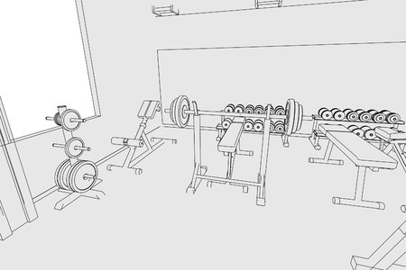 benchpress: cartoon image of gym interior Stock Photo