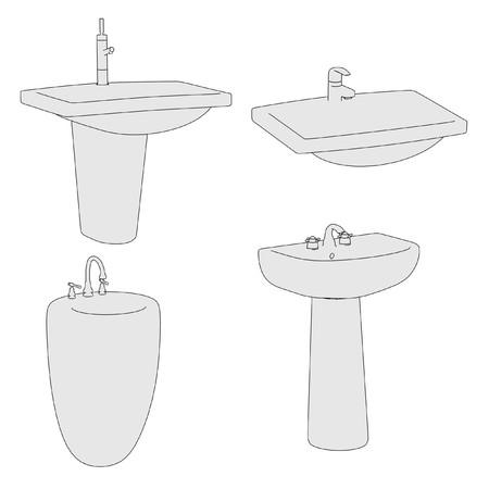 wash basin: cartoon image of basin (bathroom)