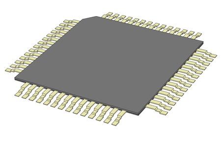 microprocessor: cartoon image of computer chip Stock Photo