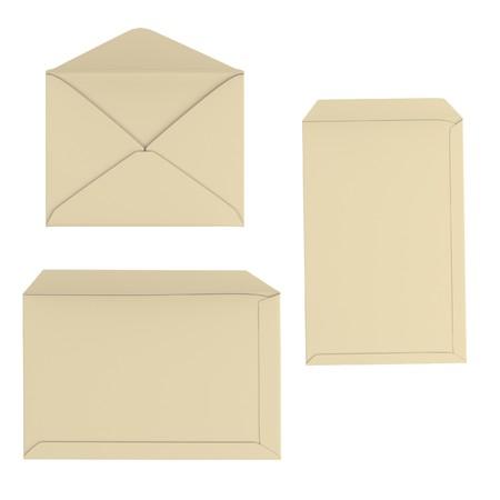 correspond: realistic 3d render of envelopes