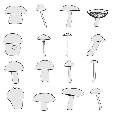 eatable: cartoon image of mushrooms (eatable) Stock Photo
