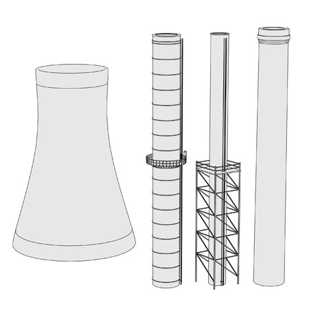 cartoon image of inustrial chimney set