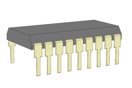 cartoon image of computer chip 版權商用圖片
