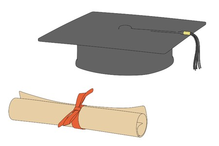 cartoon image of graduation cap and diploma Stock Photo - 25193189