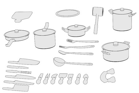 cartoon image of cookware set photo