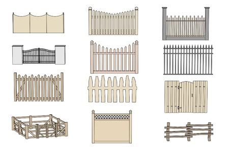 cartoon illustration of fences (railings) Stock Photo