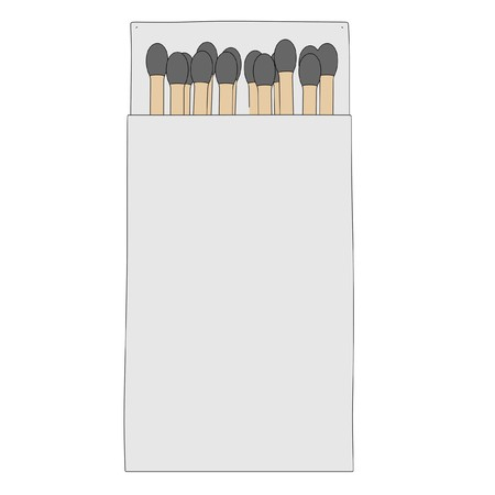 box of matches: cartoon image of matches in box