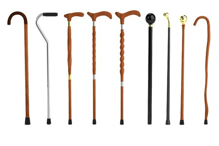 walking stick: realistic 3d render of canes Stock Photo