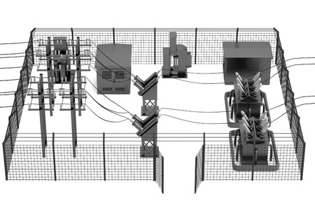 realistic 3d render of substation