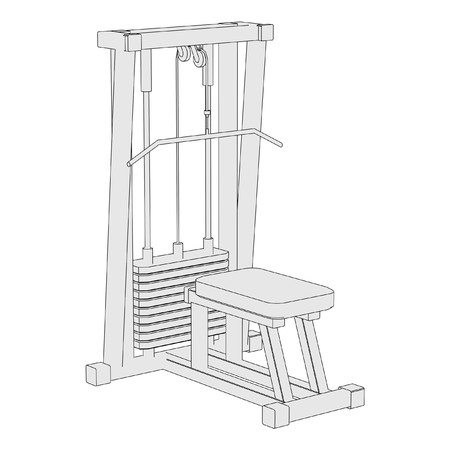 benchpress: cartoon image of gym machine Stock Photo