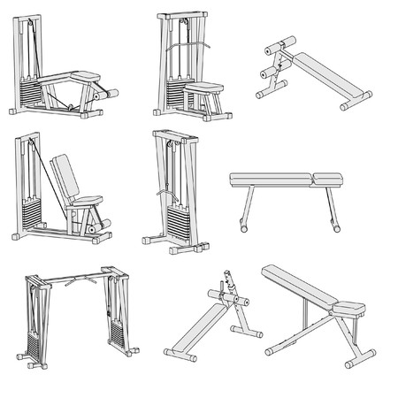 benchpress: cartoon image of gym machines Stock Photo