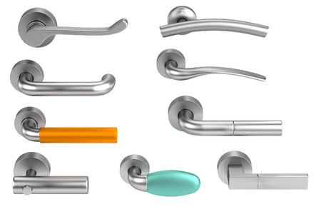 door handle: realistic 3d render of handles