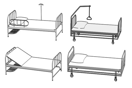 pacient: cartoon image of hospital beds