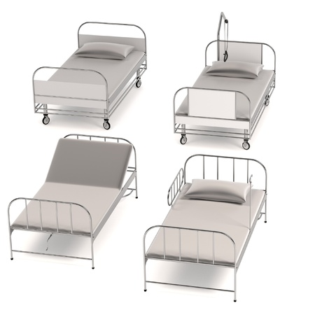 pacient: realistic 3d render of hospital beds