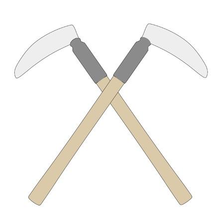 kama: cartoon image of kama weapon Stock Photo