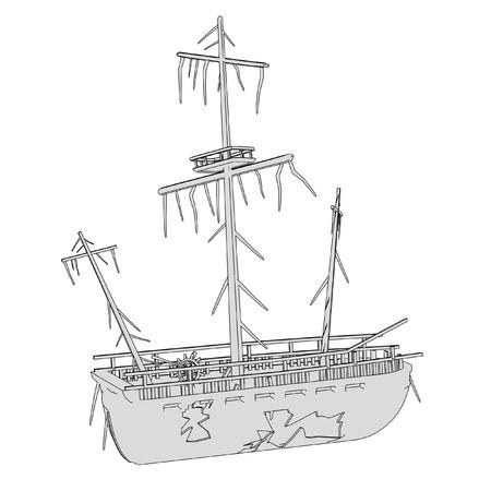 ship wreck: cartoon image of ship wreck